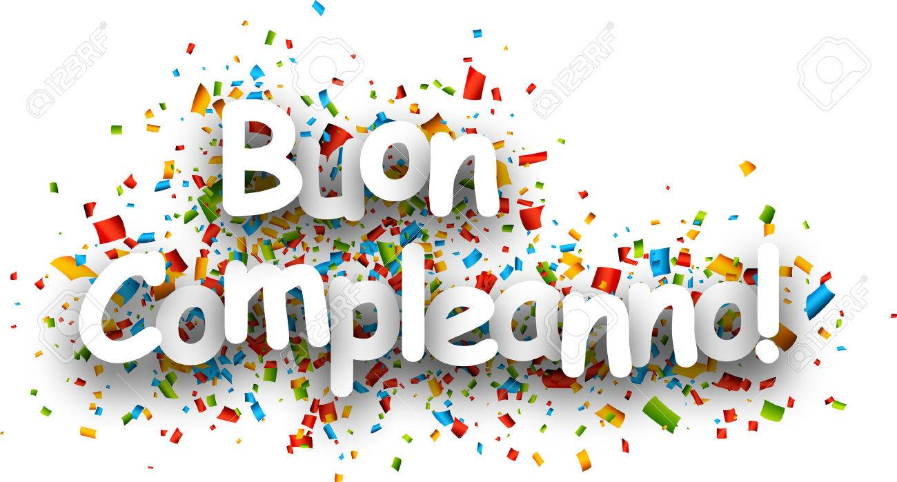 Happy Birthday Paper Banner With Color Confetti Italian Vector Royalty Free Cliparts Vectors And Stock Illustration Image 54969142