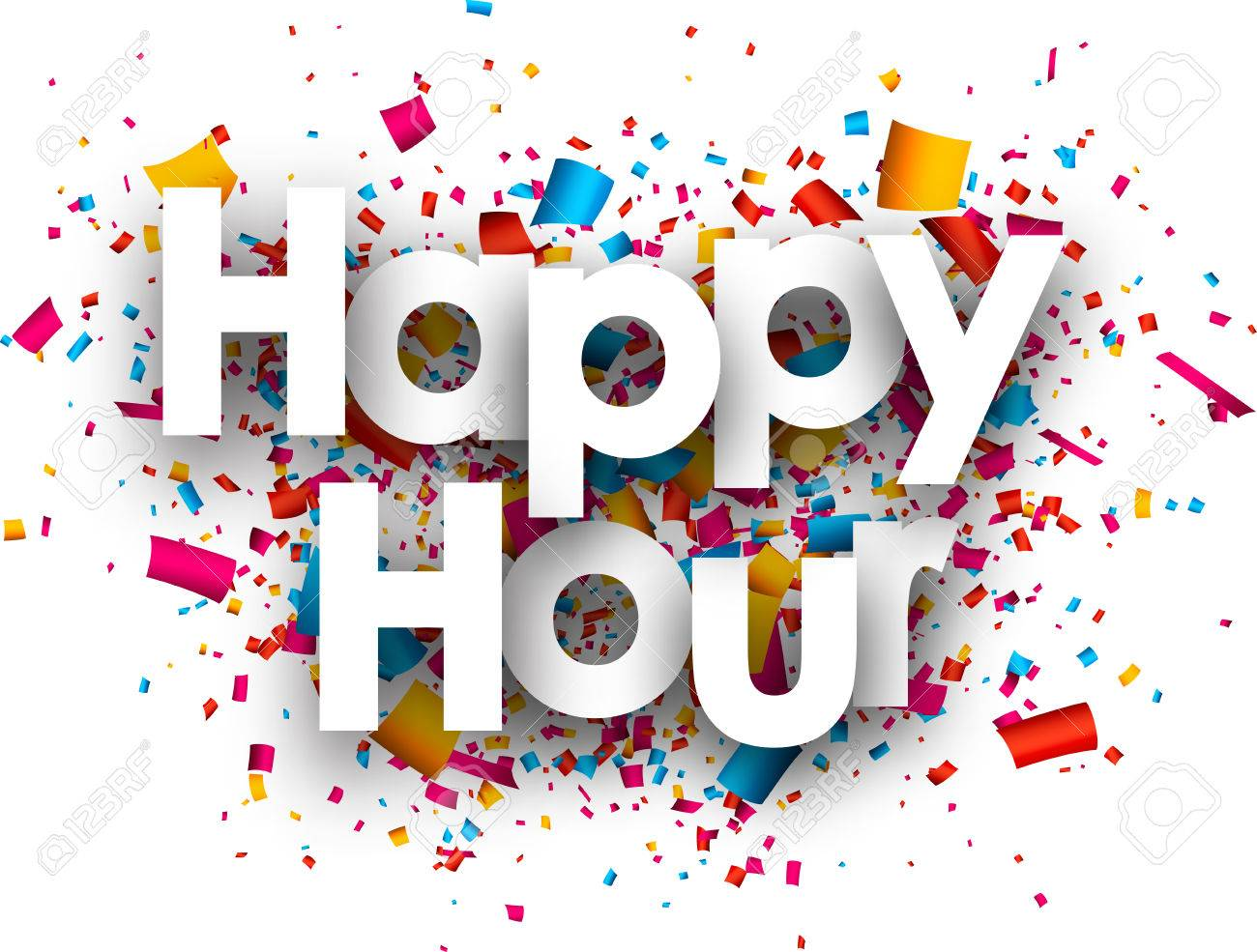 Happy hour paper background with color confetti. Vector illustration. - 54969144