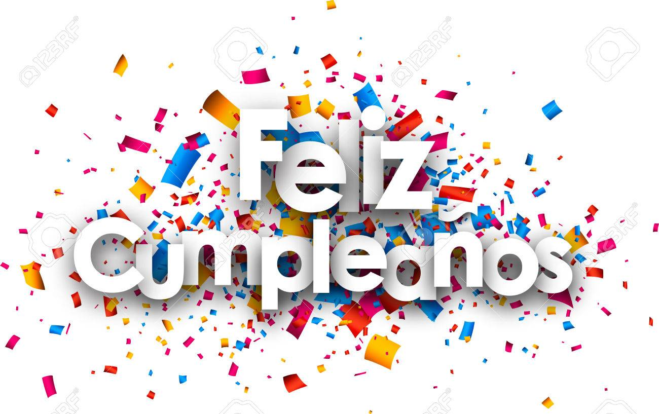 Happy birthday paper card with color confetti, Spanish. Vector illustration. - 54969148