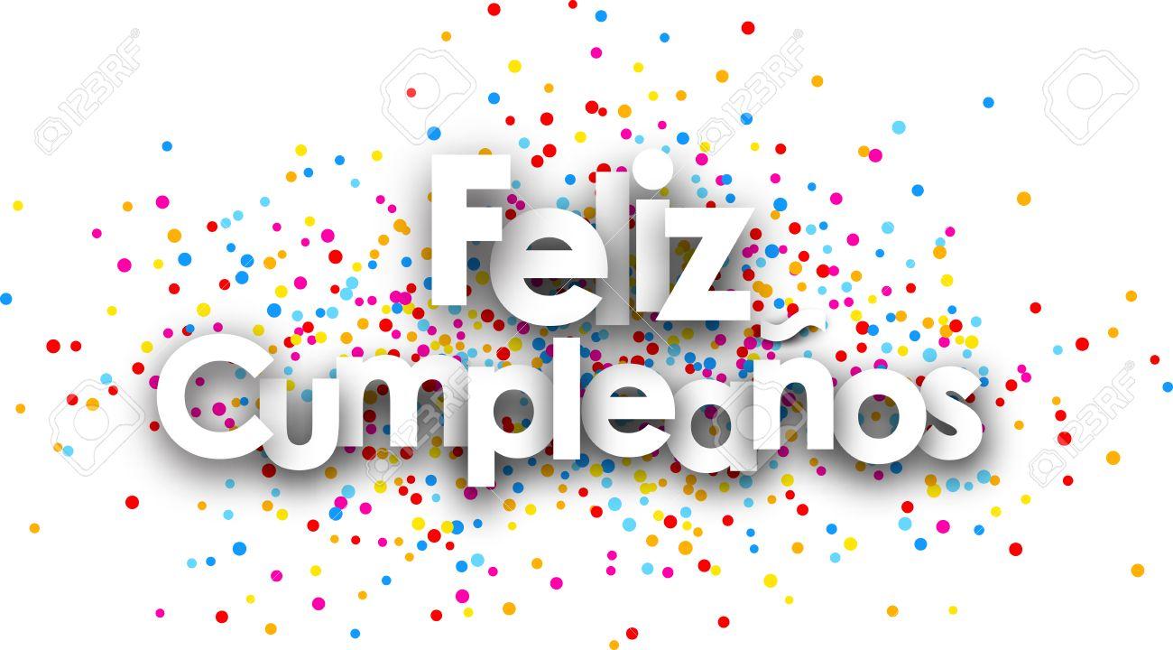 Feliz Cumpleanos Cartel De Papel Con Gotas De Color Espanol