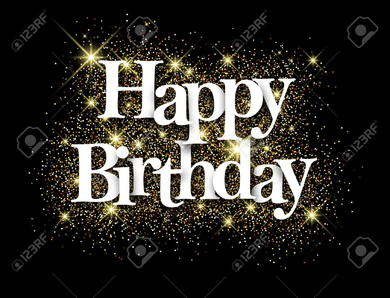 Happy birthday black background with shining sand. Vector paper illustration. - 56446651