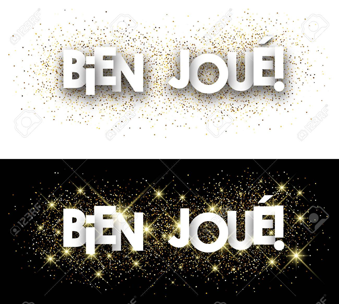 Well done paper banner with shining sand, French. Vector illustration. - 57377769