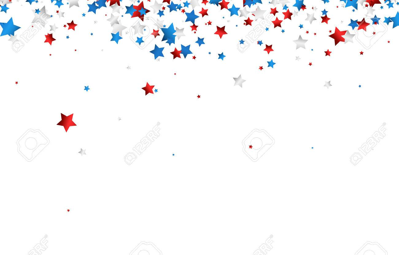 Background with red, white, blue stars. Vector paper illustration. - 59167600