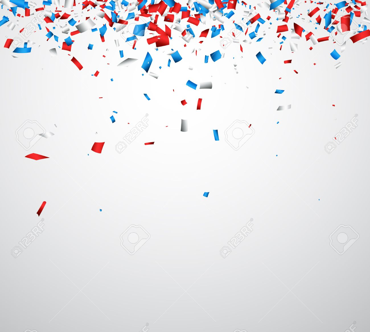 Background with red, white, blue confetti. Vector illustration. - 59167602