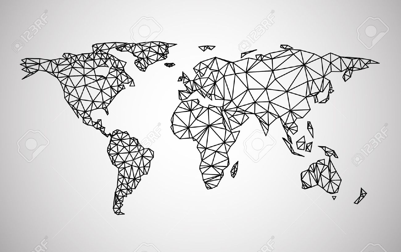 Black Abstract World Map Vector Paper Illustration Royalty Free