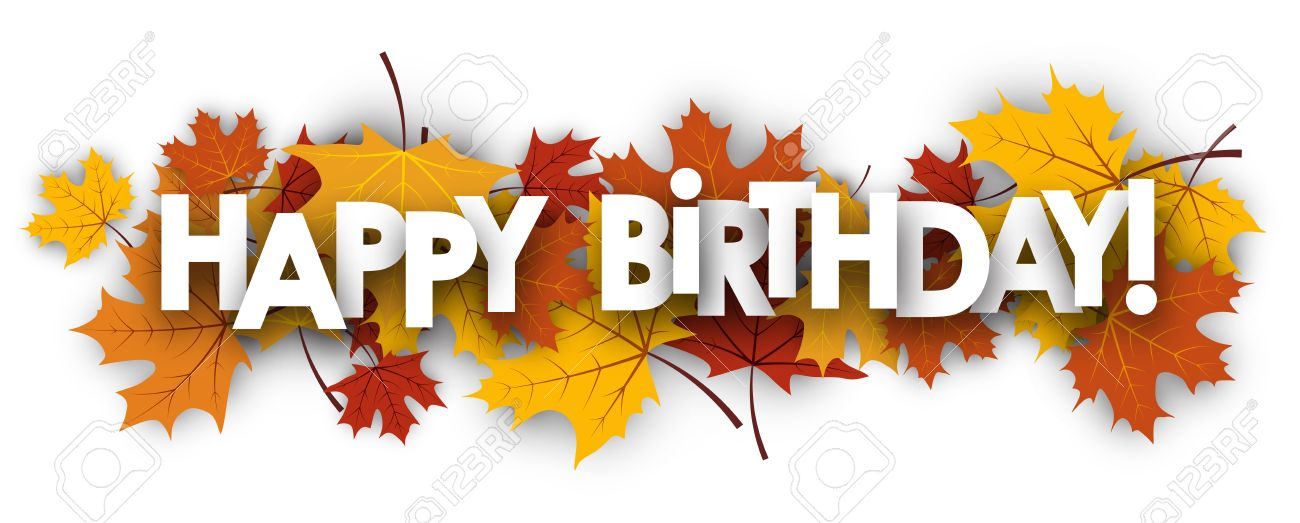 Happy Birthday Banner With Golden Maple Leaves Vector Paper