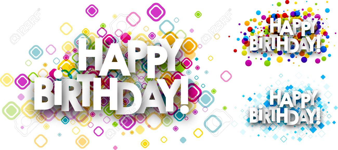 Happy Birthday Color Backgrounds Set. Vector Paper Illustration. Stock  Vector   62309555