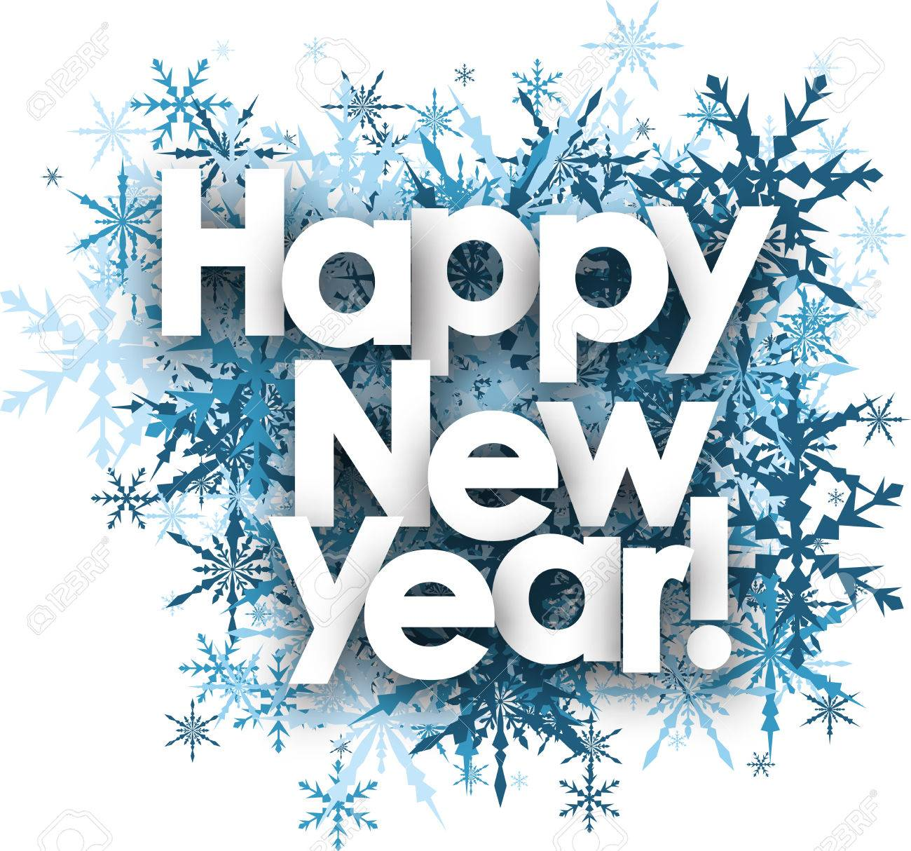 happy new year white background with blue snowflakes vector illustration stock vector 62821216