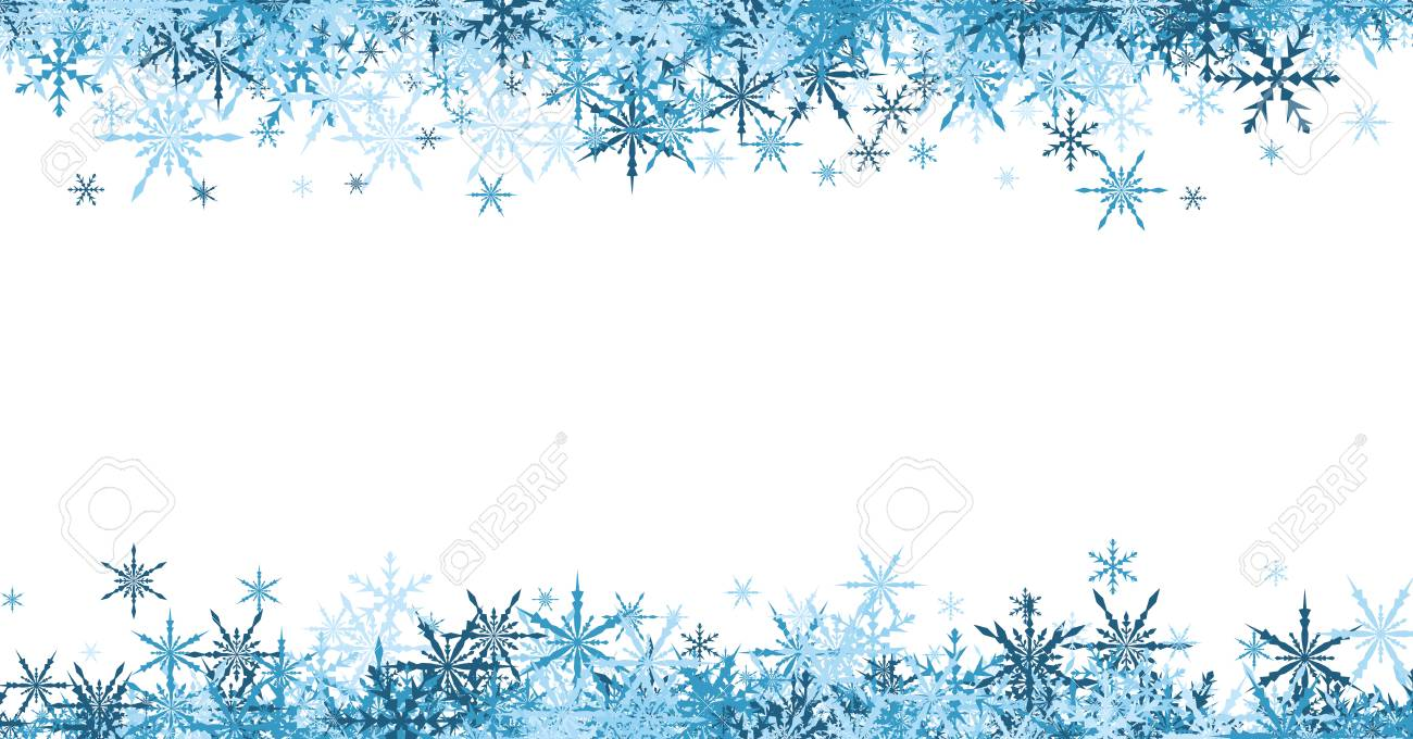 White Winter Banner With Blue Snowflakes Vector Illustration