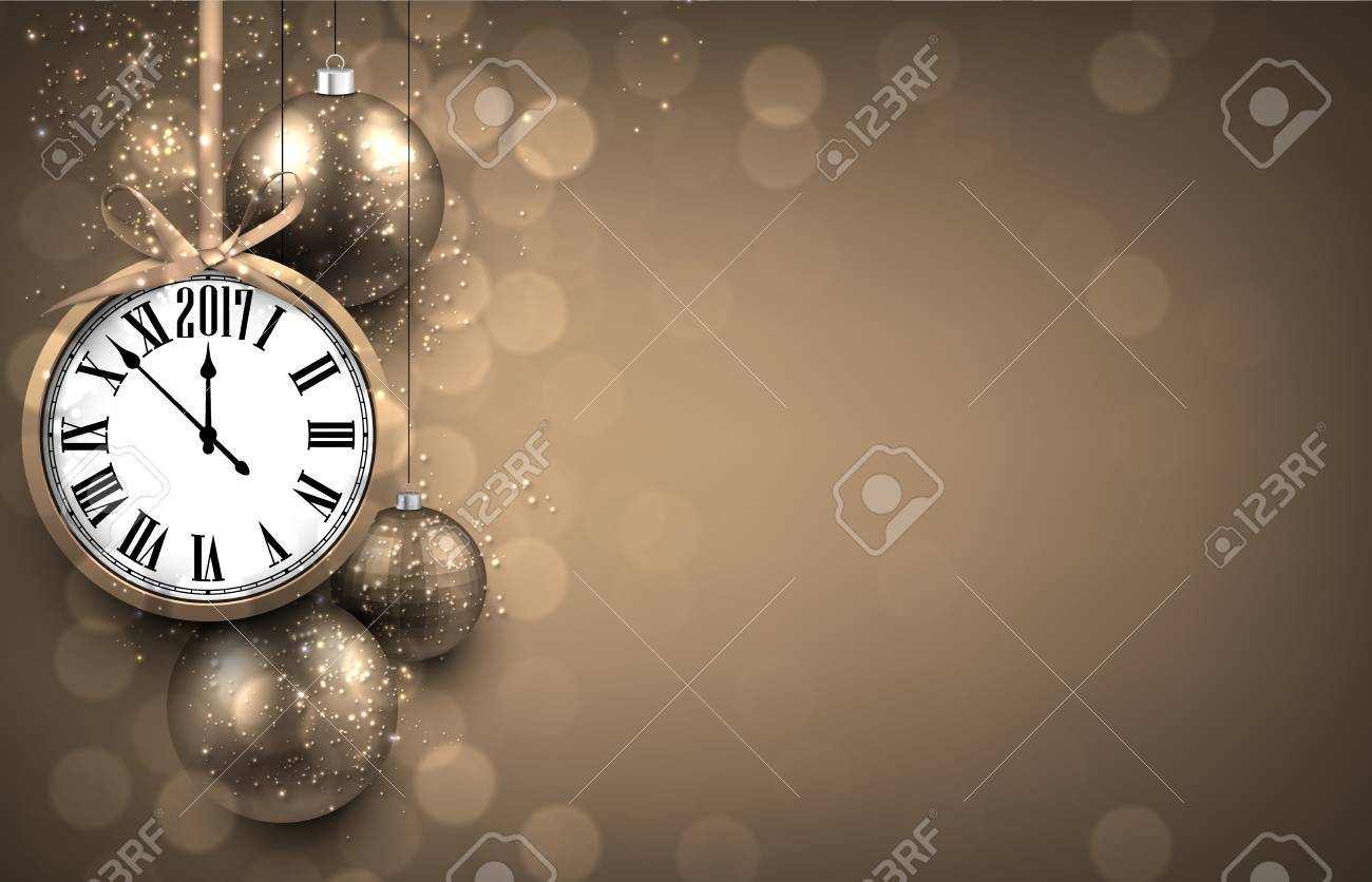 2017 new year background with clock and silver balls vector illustration stock vector