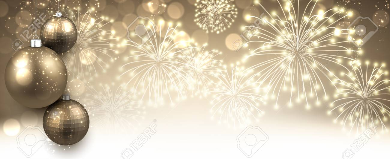 new year banner with christmas balls and fireworks vector illustration stock vector 63754799