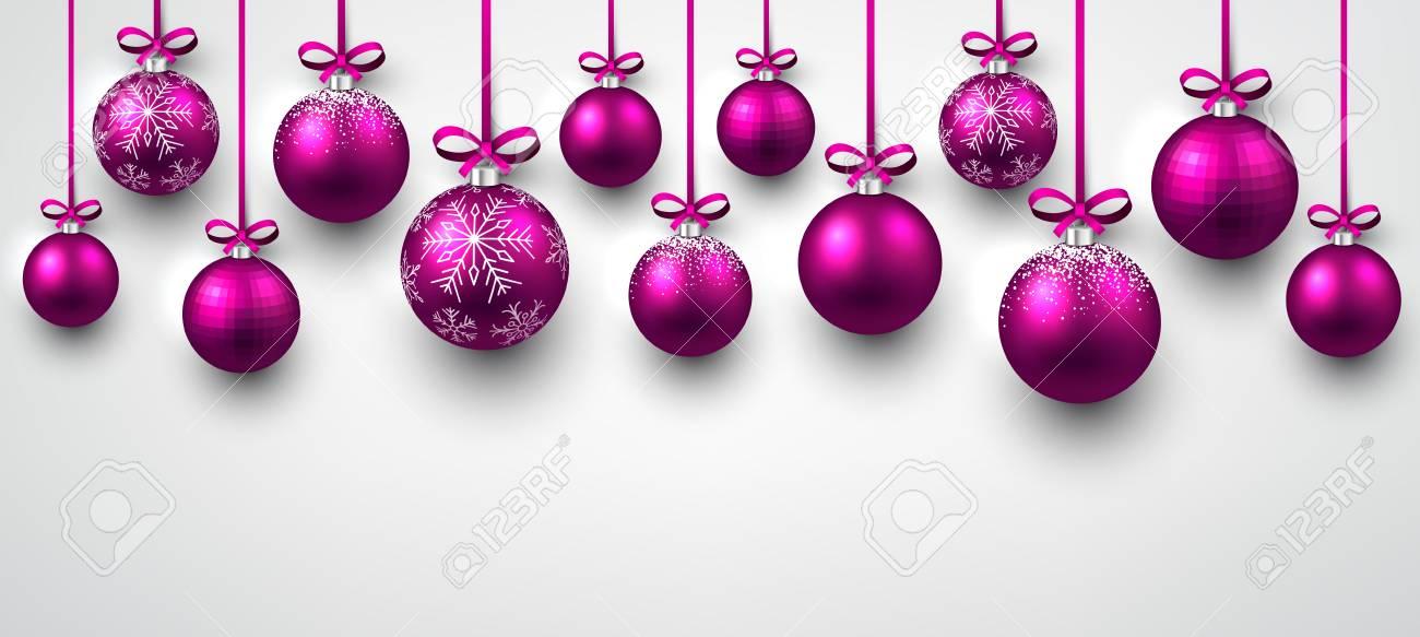 Bandera De Año Nuevo Blanco Con Bolas De Navidad De Color Rosa ...