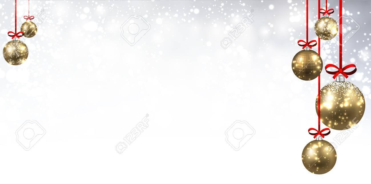 Nouvel An Brillant De Fond Avec Des Boules De Noël Dorées Vector