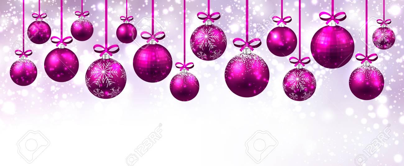Nouvel An Bannière Avec Des Boules De Noël Rose. Vector