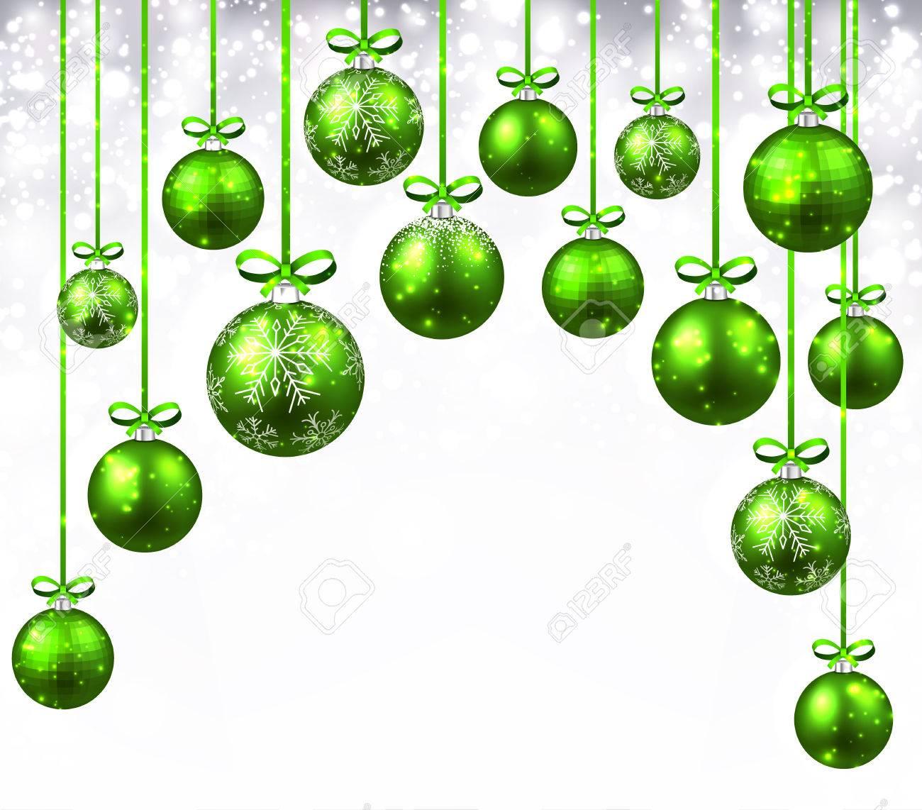 315f6c9c49cf7 Fondo de año nuevo con bolas de Navidad verdes. Ilustración del vector.  Foto de