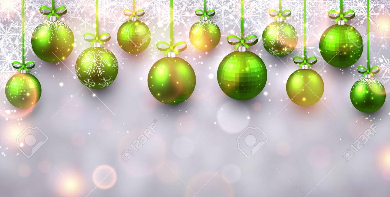 07896275279cf Brillante fondo de año nuevo con bolas de Navidad verdes. Ilustración del  vector. Foto