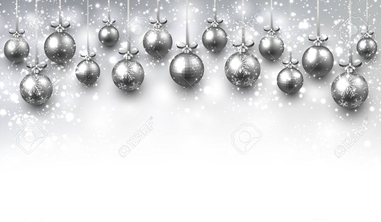 new year background with silver christmas balls vector illustration stock vector 64417502