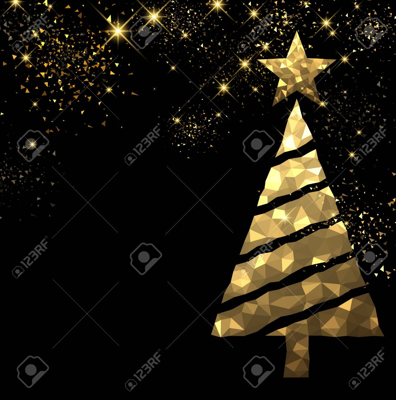 new year black background with golden christmas tree vector illustration stock vector 64711243