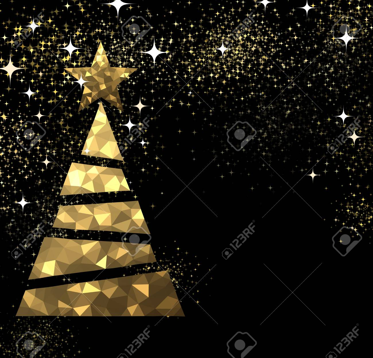 New Year Black Background With Golden Christmas Tree Vector Illustration Stock