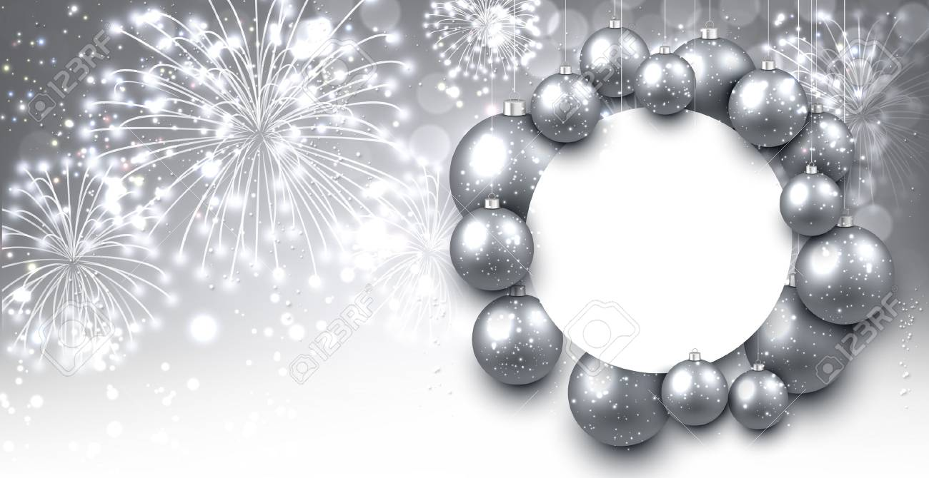 silver new year background with christmas balls vector illustration stock vector 67133939
