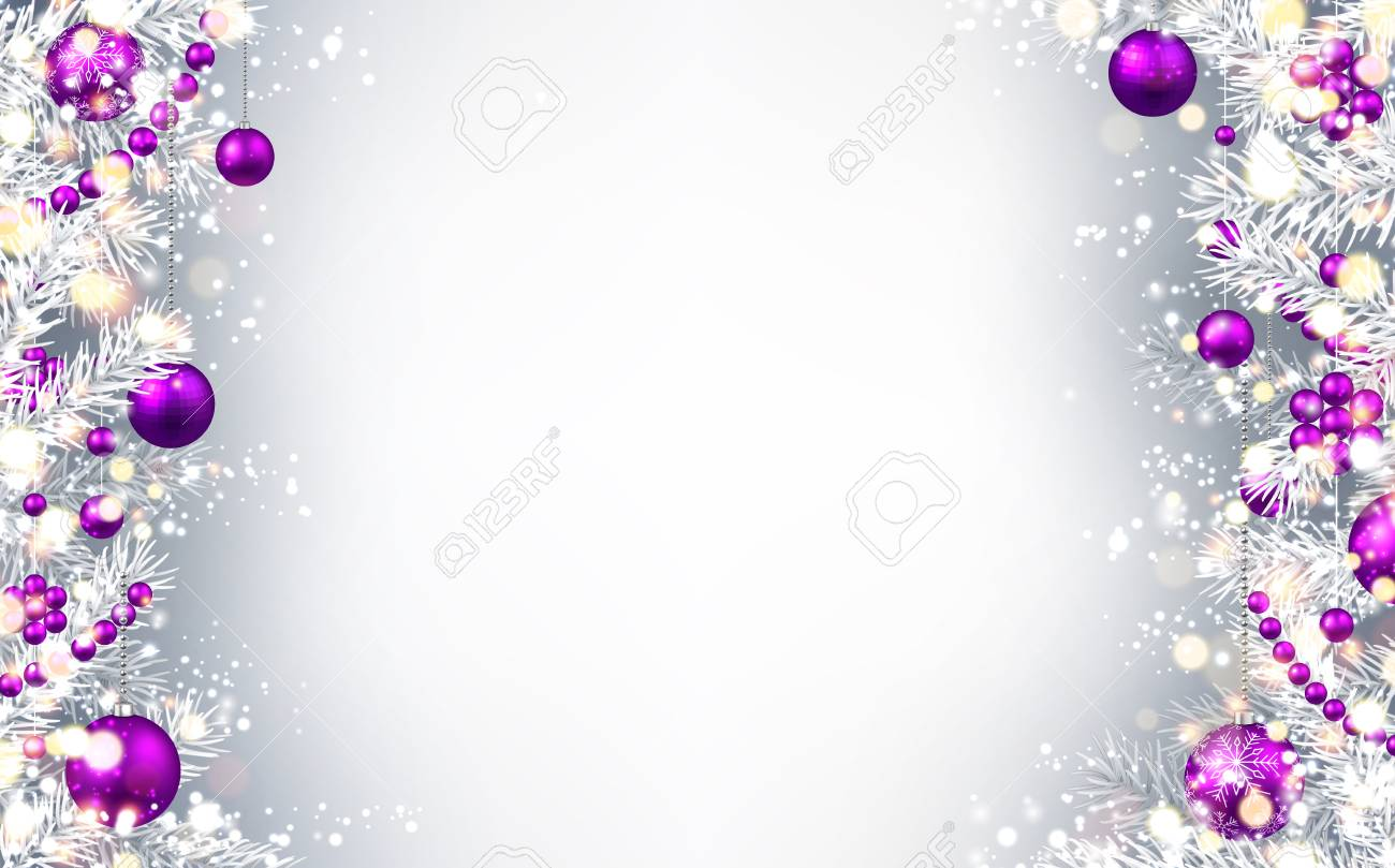 new year gray background with purple christmas balls vector illustration stock vector 67134015