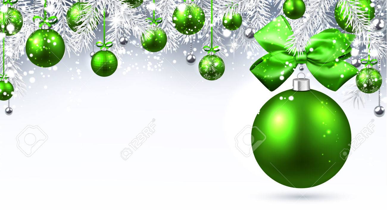 31eb5769da683 Bandera del Año Nuevo con bolas de Navidad verdes. Ilustración del vector.  Foto de
