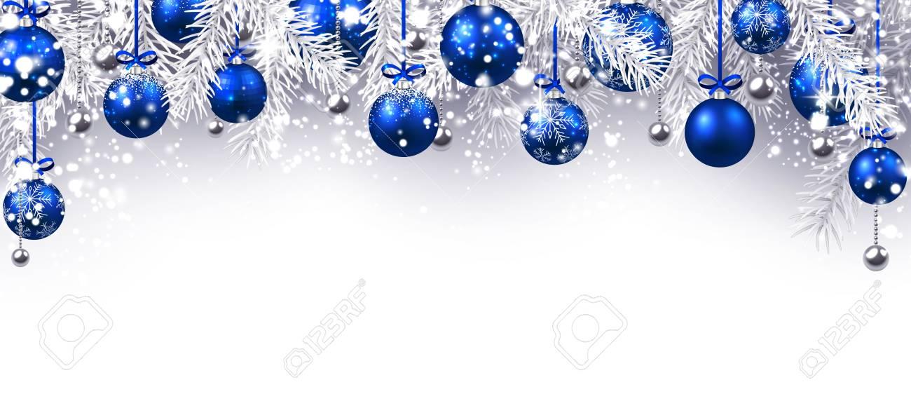 Populaire préféré Nouvel An Bannière Avec Des Boules De Noël Bleu. Vector &AF_62