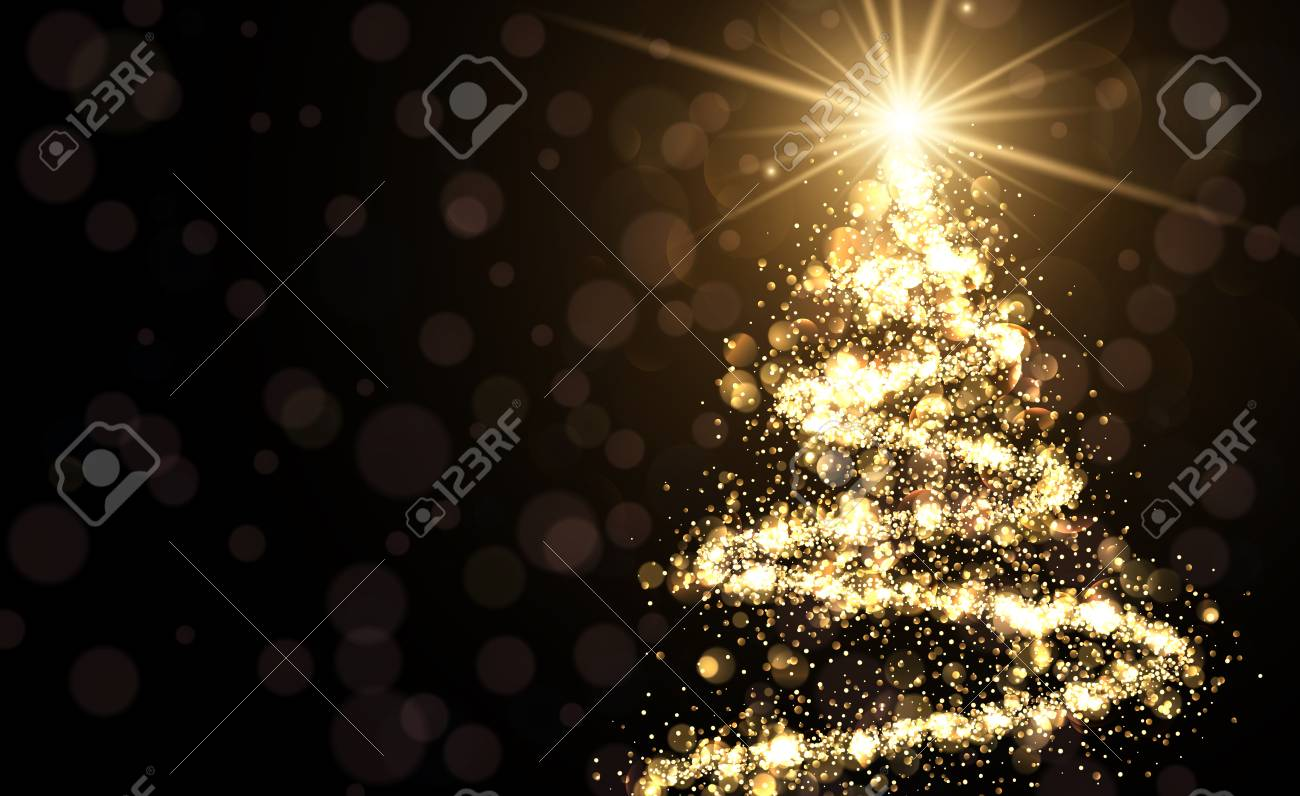 Golden background with shining abstract Christmas tree. Vector illustration. - 67134105