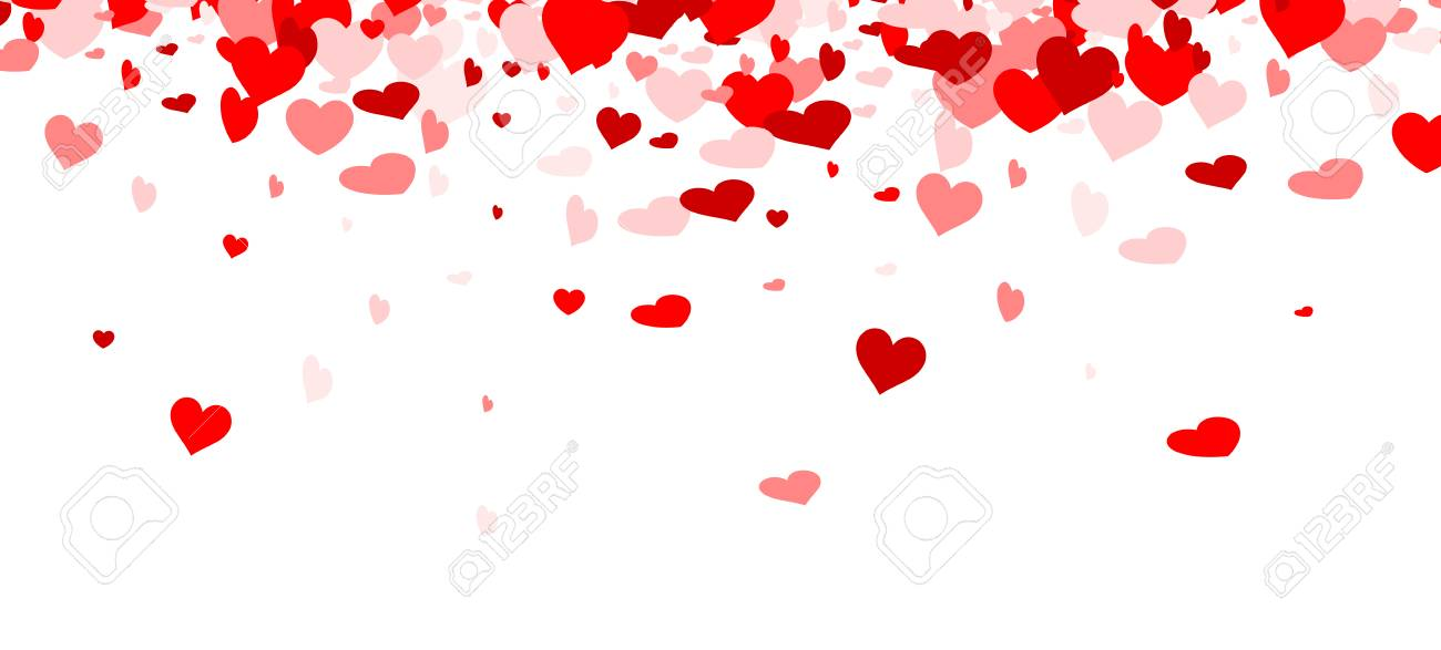Love valentine's background with red and pink hearts. Vector illustration. - 69044304