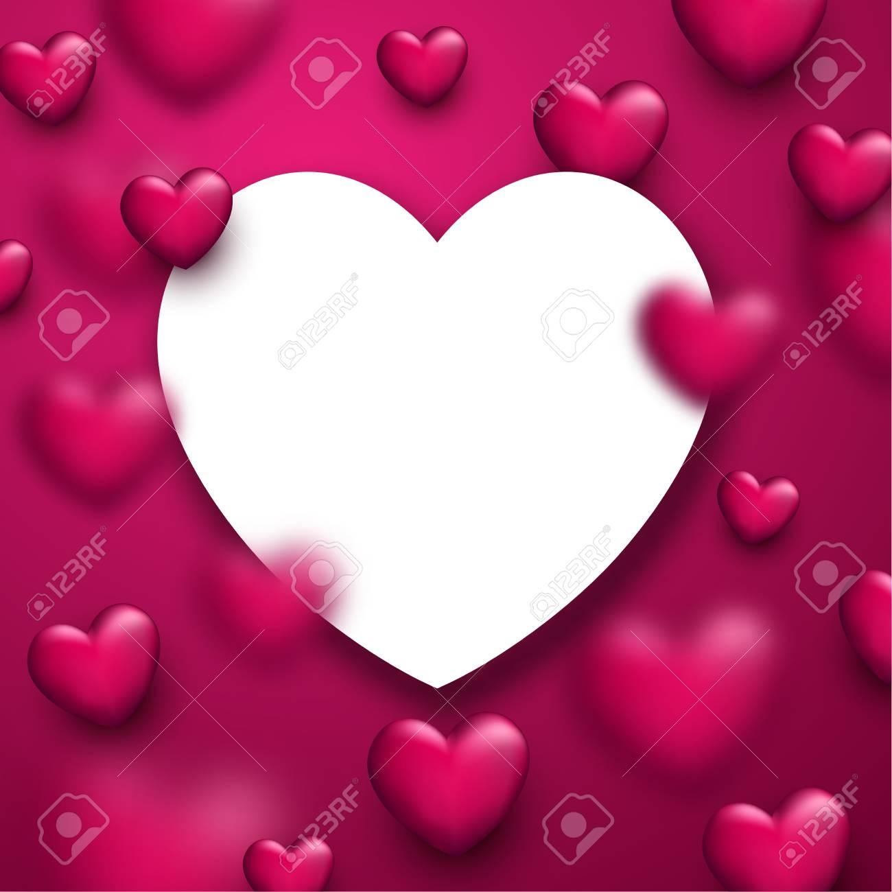 Fondo Del Amor Del Rosa De San Valentín Con Corazones 3d