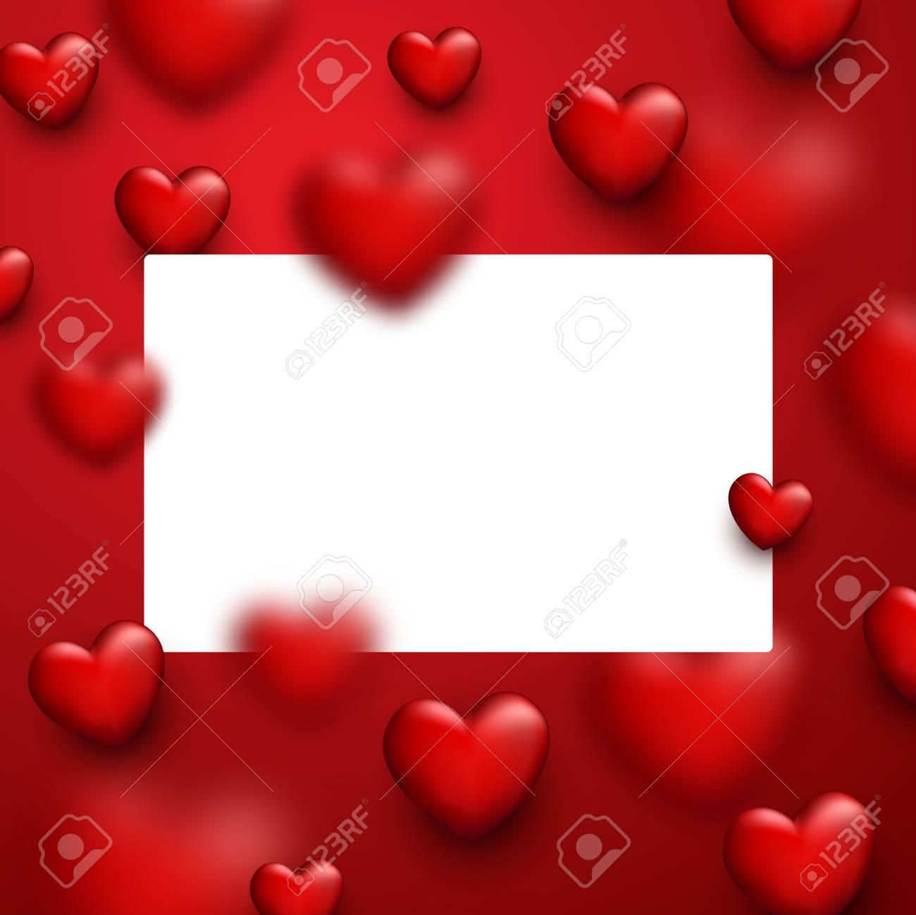 Fondo Rojo De Amor De San Valentín Con Corazones 3d Ilustración Del