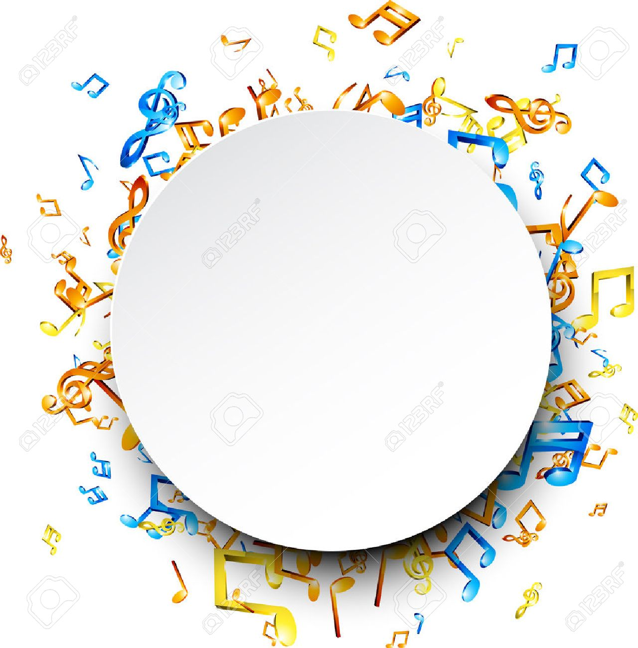 White round musical background with colorful notes. Vector illustration. - 69086846