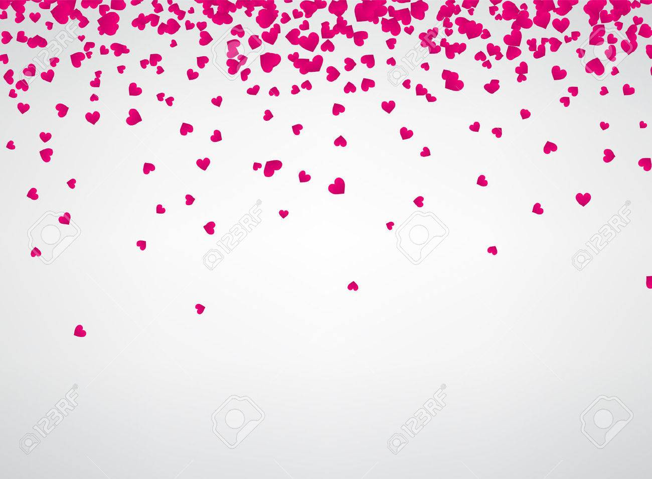 White love valentine's background with pink hearts. Vector paper illustration. - 70455932