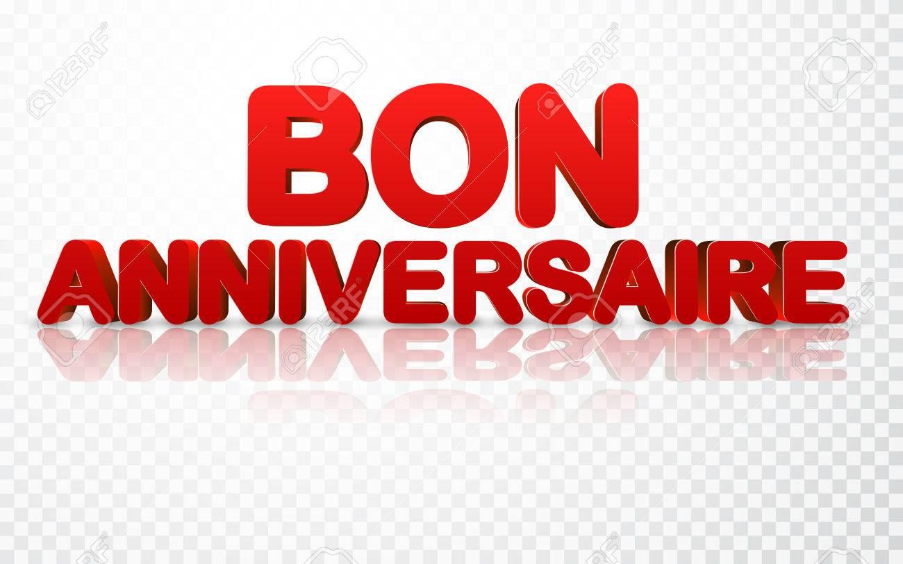 Vettoriale   Priorità Bassa Rossa Di Buon Compleanno 3d, Francese