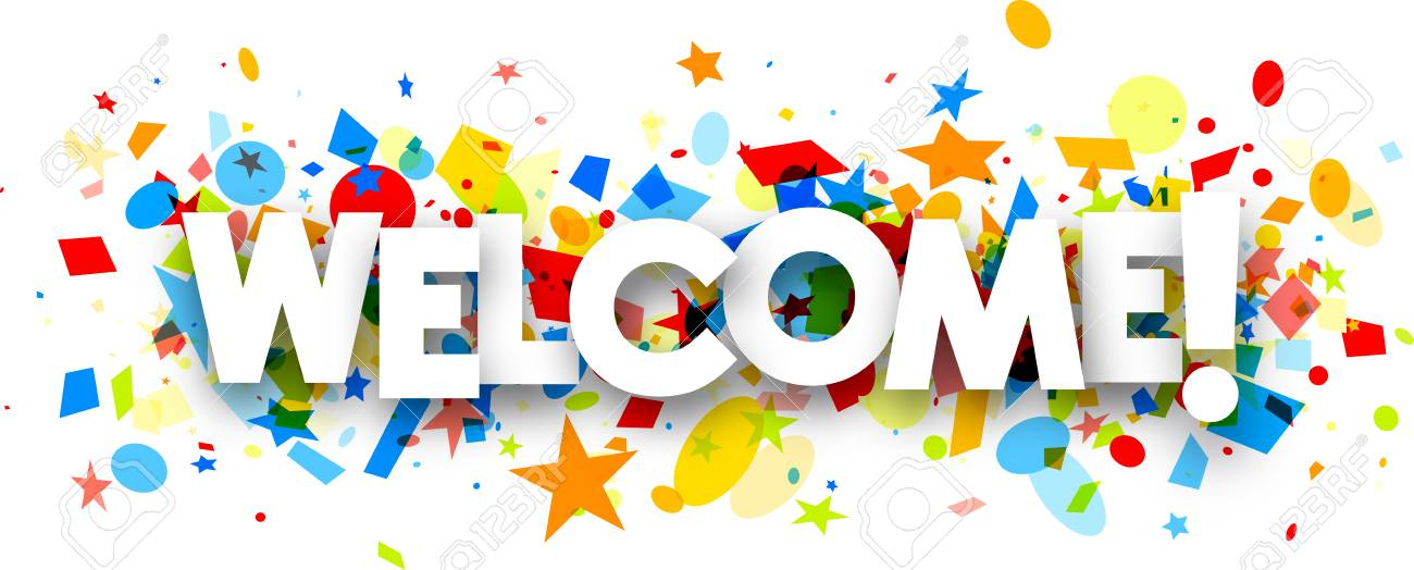 Welcome Paper Banner With Colorful Confetti. Vector Illustration ...