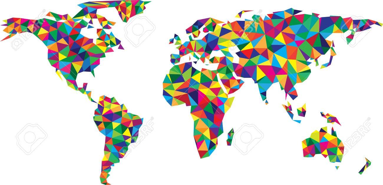 Carte Du Monde Abstrait Géométrique Mosaïque Colorée Illustration De Papier De Vecteur