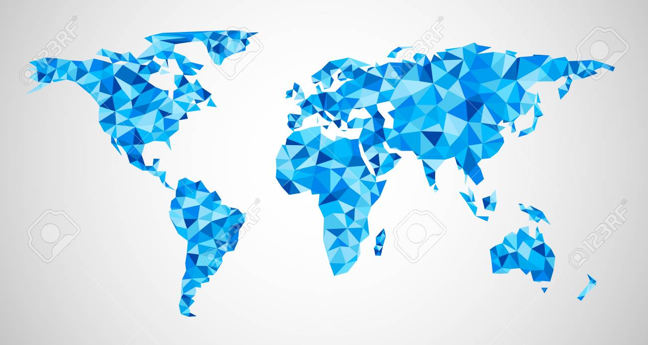 Blue Mosaic Geometric Abstract World Map Vector Paper Illustration