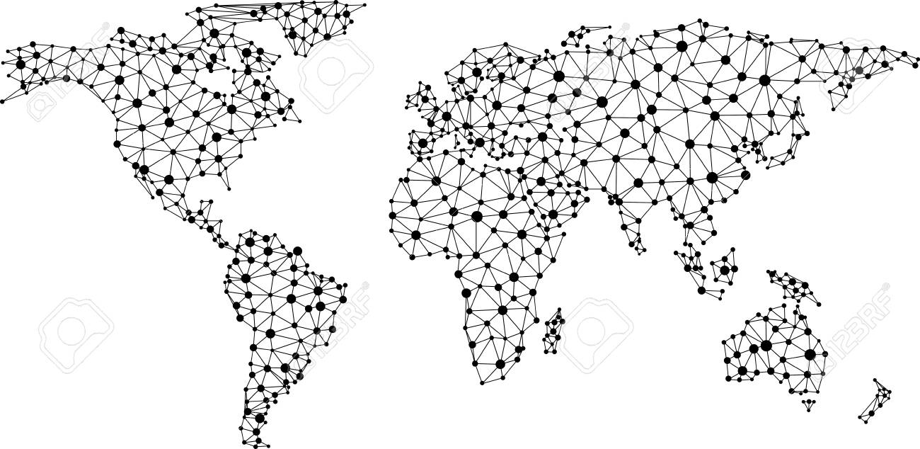 Abstract black and white global communications world map vector abstract black and white global communications world map vector paper illustration stock vector gumiabroncs Images