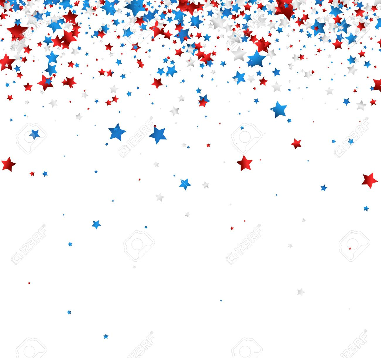 White Background With Red White Blue Stars Vector Paper