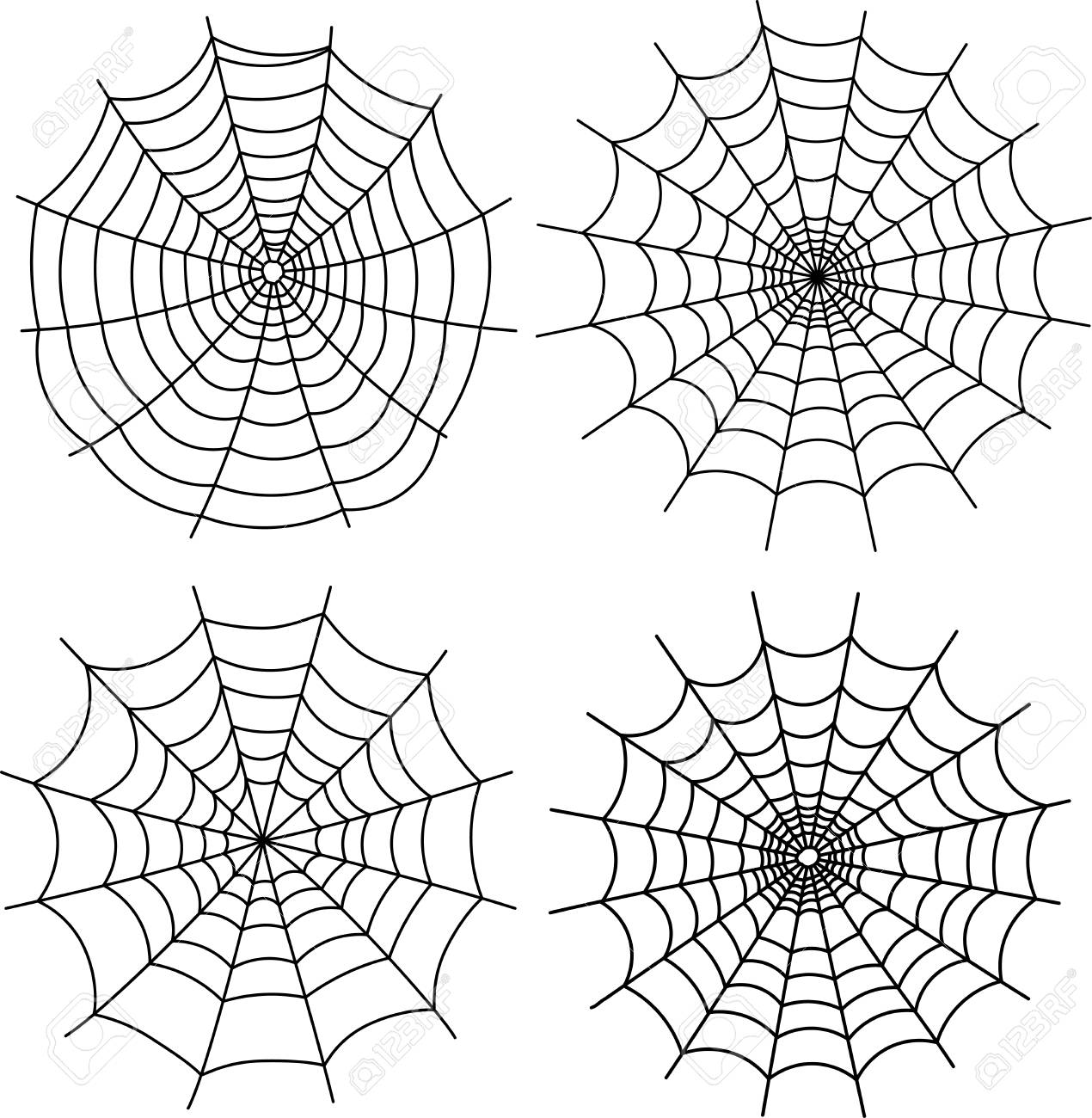 black halloween spiderweb templates set royalty free cliparts