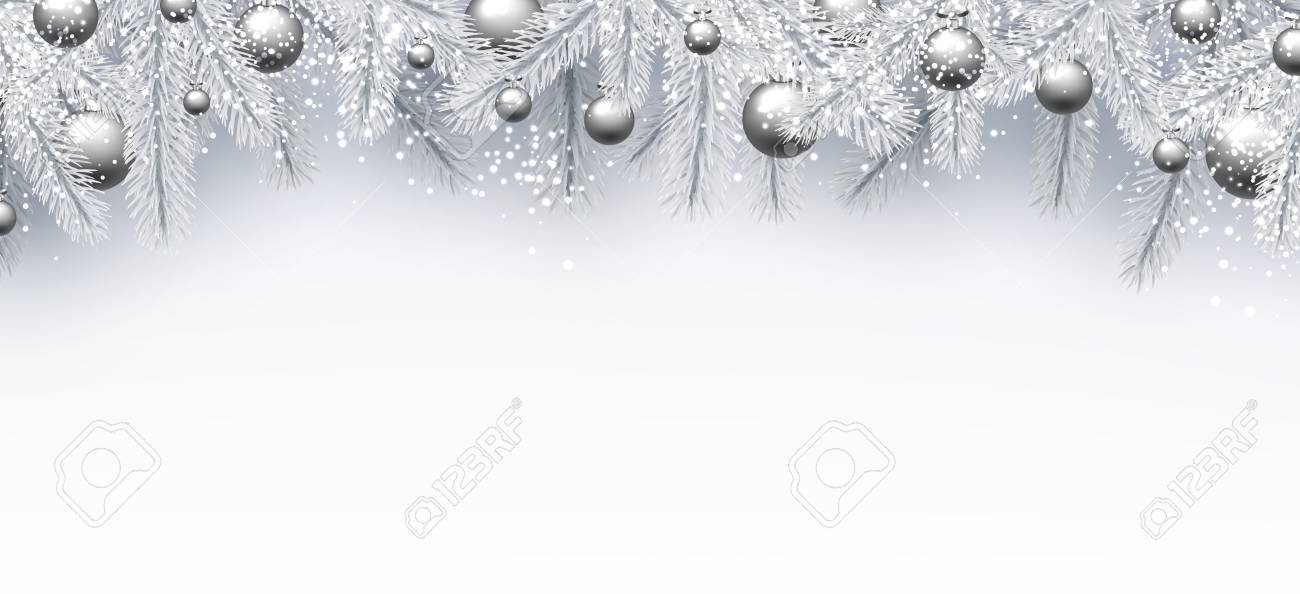 new year background with white spruce branches and silver christmas balls vector illustration stock