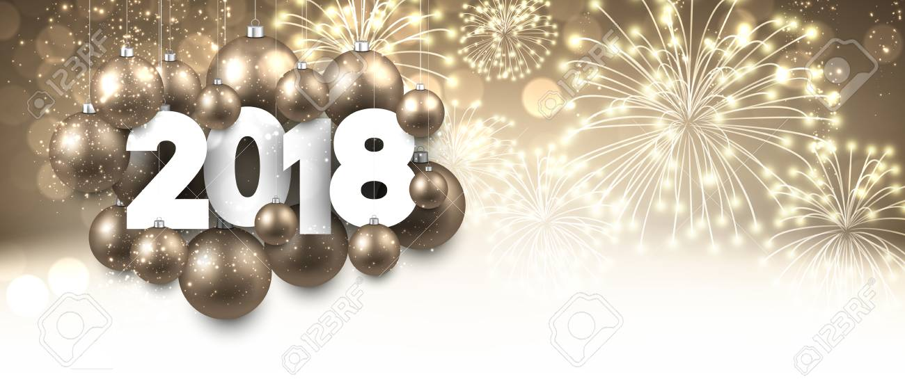 golden 2018 new year banner with christmas balls stock vector 87733310