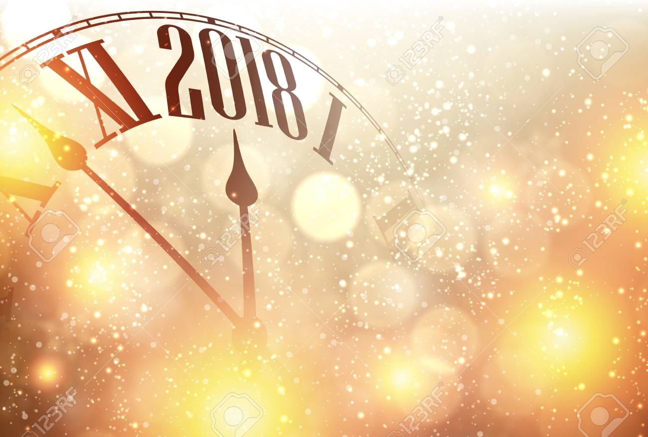 golden 2018 new year background with clock vector illustration stock vector 87748531