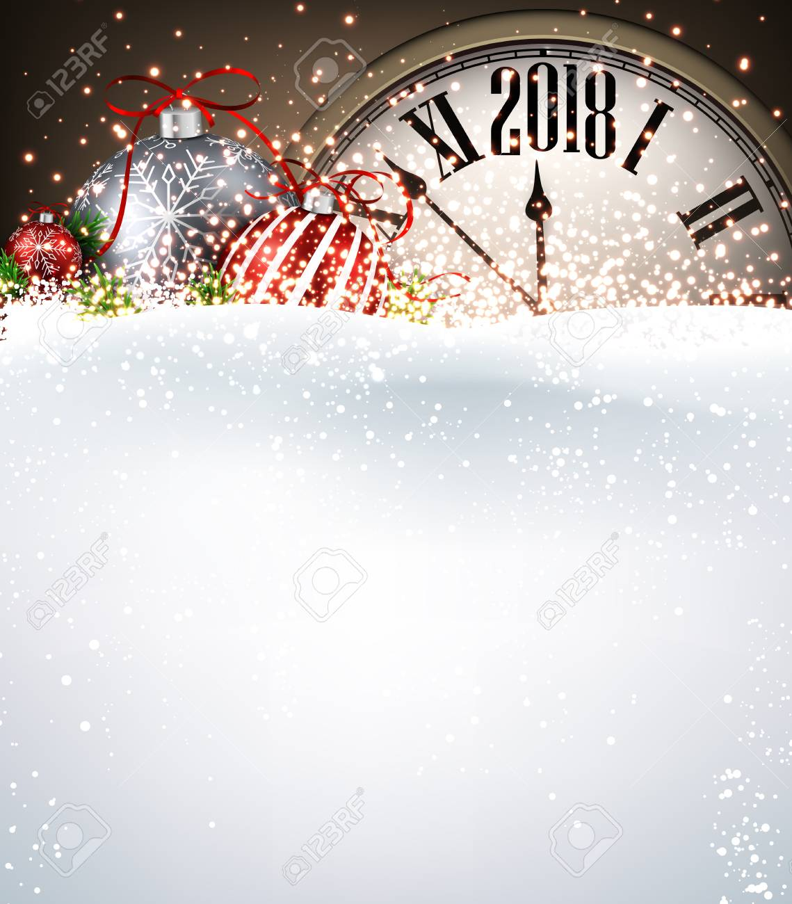 2018 New Year Background With Clock, Christmas Balls And Snow ...