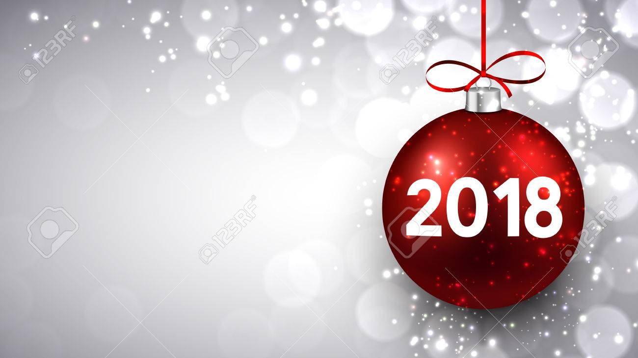 shining 2018 new year background with red christmas ball vector illustration stock vector