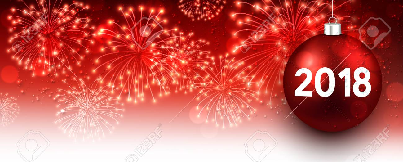 red 2018 new year banner with christmas ball and fireworks vector illustration stock vector