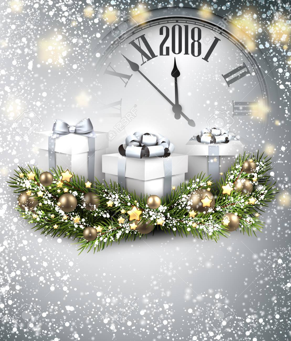 2018 New Year Background With Clock, Gifts And Snow. Vector ...