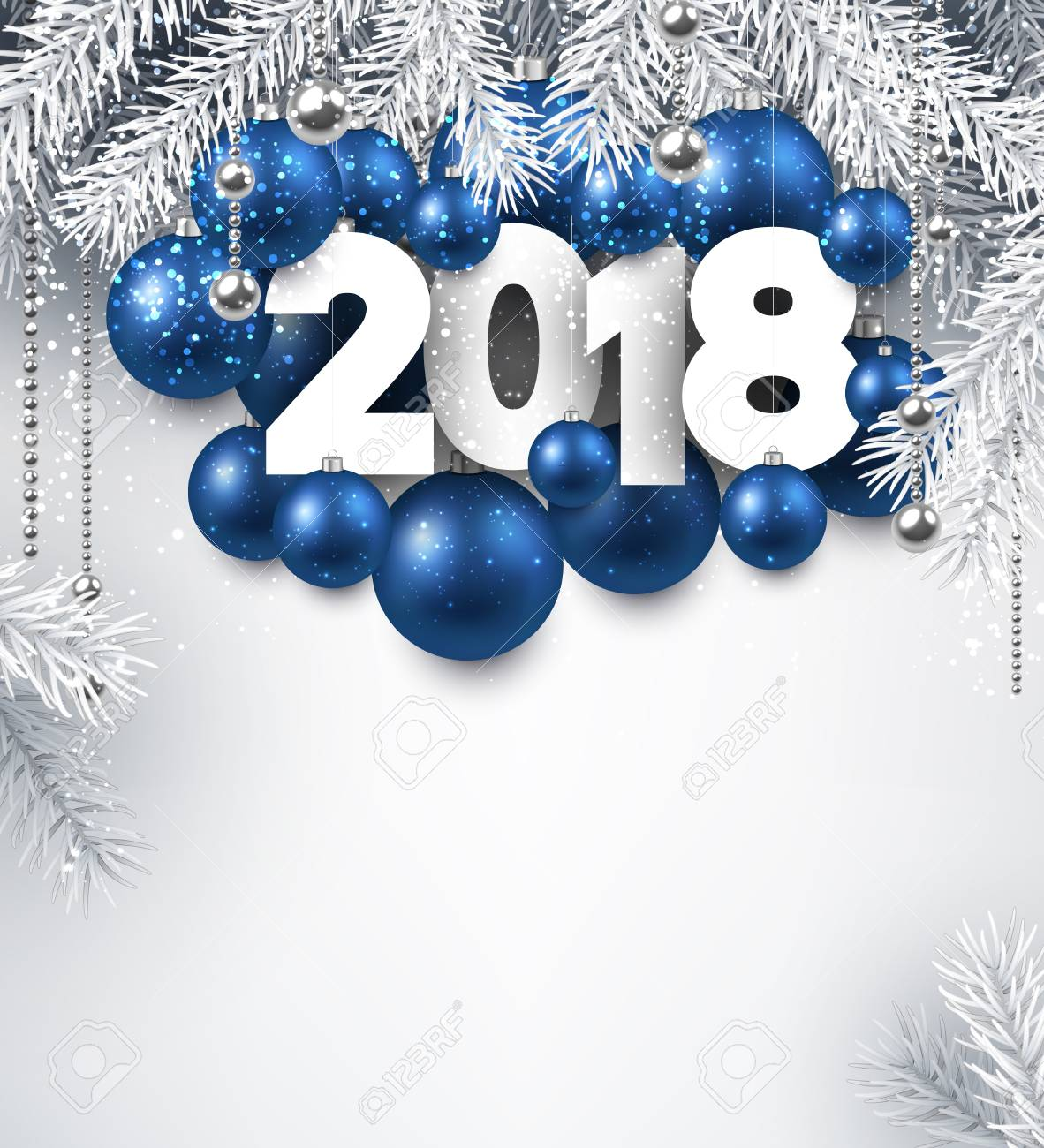 2018 new year background with blue christmas balls vector illustration stock vector 87882590