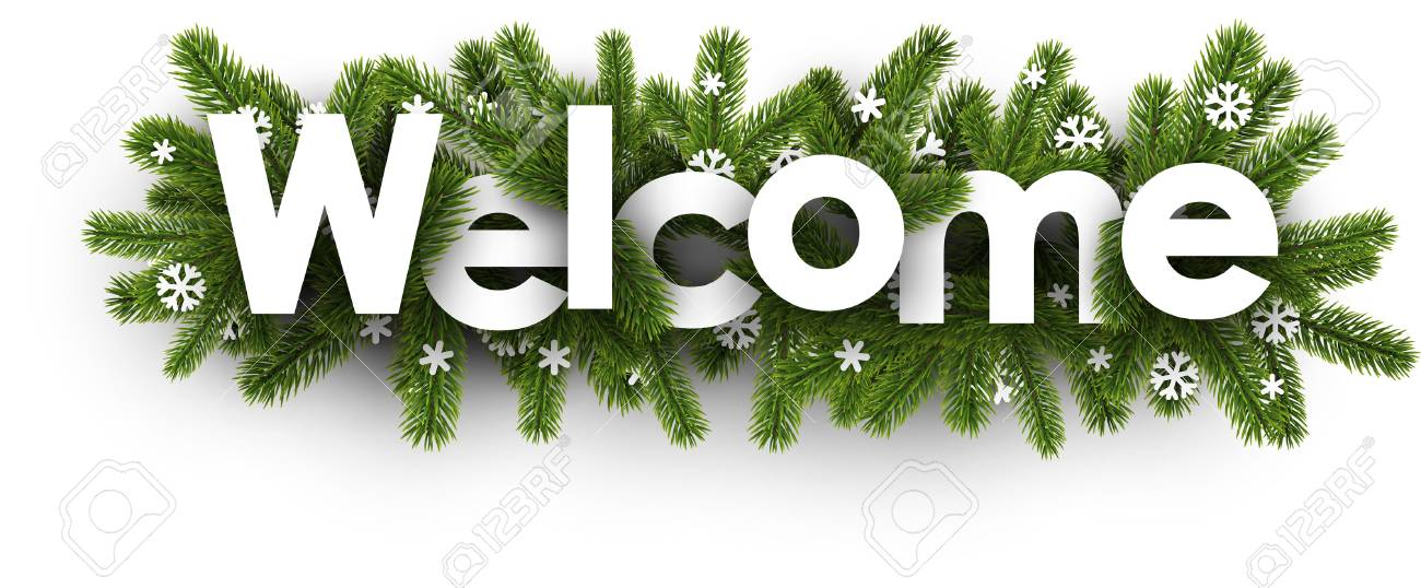 Winter welcome banner with spruce branches and snowflakes. Vector illustration. - 88840131