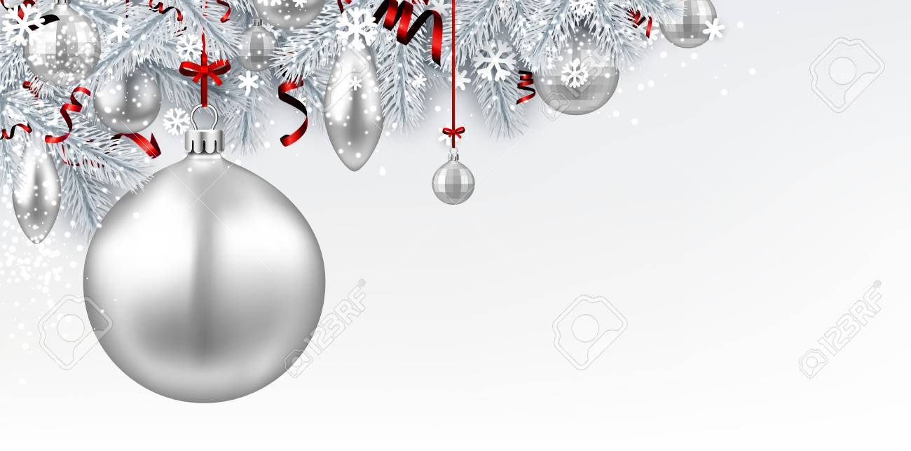 new year background with white spruce branches and christmas balls vector illustration stock vector
